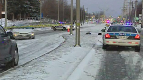 Police investigate a collision that sent a 13-year-old pedestrian to hospital with critical injuries, Thursday, Jan. 28, 2010.