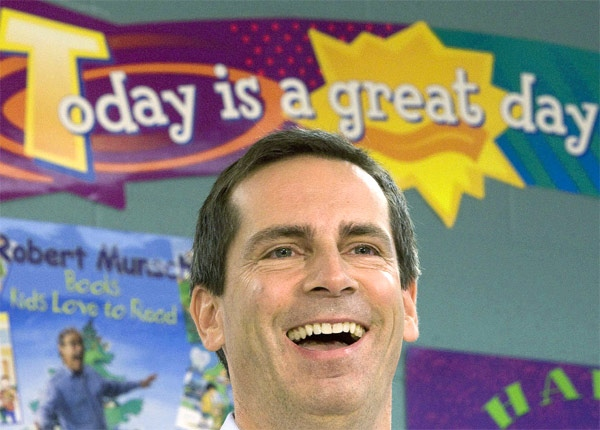 Ontario Liberal Leader Dalton McGuinty smiles as he answers questions from the media during a campaign stop at Lincoln Alexander Public School in Markham, Ont. on Friday, Oct. 5, 2007. (CP / Jonathan Hayward)