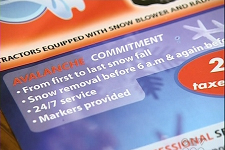 The flier advertising Avalanche's promises