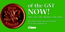 One of the posters used in the City of Toronto's One Cent NOW! advertising campaign.