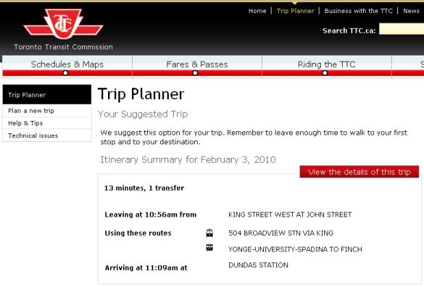 ttc launches beta online trip planner still has bugs. Black Bedroom Furniture Sets. Home Design Ideas