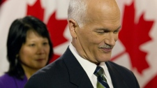 NDP Leader Jack Layton announces that he has been diagnosed with prostate cancer while accompanied by his wife Olivia Chow at a press conference in Toronto, Friday, Feb. 5, 2010. (Darren Calabrese / THE CANADIAN PRESS)