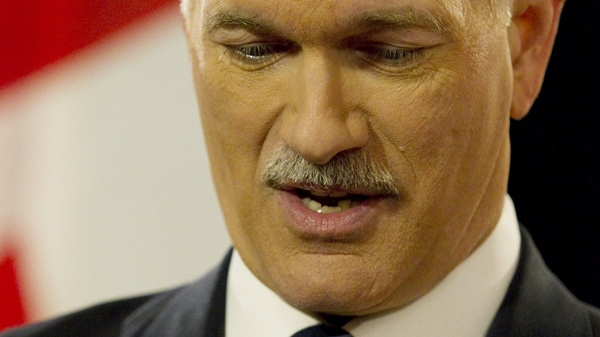 NDP Leader Jack Layton announces that he has been diagnosed with prostate cancer during a press conference in Toronto, Friday, Feb. 5, 2010. (Darren Calabrese / THE CANADIAN PRESS)