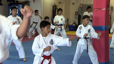Students practice martial arts at Lok's Hapkido School in Richmond. (CTV)