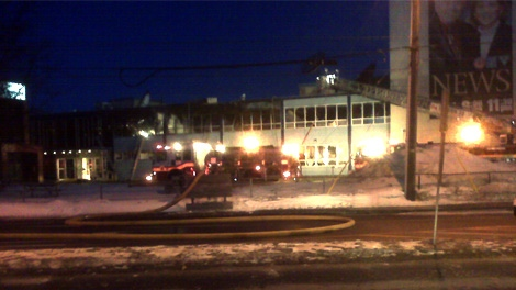 Fire crews battle a blaze that destroyed the newsroom at CTV Ottawa, Sunday, Feb. 7, 2010. Viewer photo submitted by: Stefan Keyes