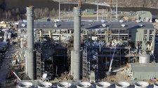 The Kleen Energy plant is seen in this aerial photo after an explosion in Middletown, Conn., Sunday, Feb. 7, 2010. (AP / Jessica Hill)