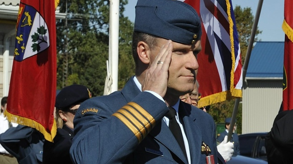 Col. Russ Williams salutes as he arrives at the Battle of Britain parade in Trenton, Ont., Sept. 20, 2009. (Cpl. Miranda Langguth / Department of National Defence)