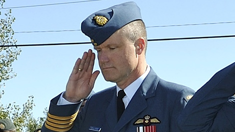 Col. Russ Williams gives a salute of respect and homage to the Air Commodore Leonard J. Birchall Cairn at the Battle of Britain parade, Sept. 20, 2009.