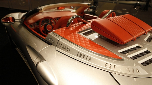 Spyker Cars N.V. new C8 Aileron Spyder is decorated with the axiom 'Nulla tenaci invia est via' translated as 'for the tenacious no road is impassable,' showcased at the Los Angeles Auto Show in Los Angeles, Thursday, Dec. 3, 2009. (AP / Damian Dovarganes)