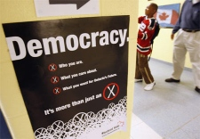 People leave a polling station after casting their ballots in the Ontario election at a Mississauga voting station, Wednesday, October 10, 2007. THE CANADIAN PRESS / J.P. Moczulski