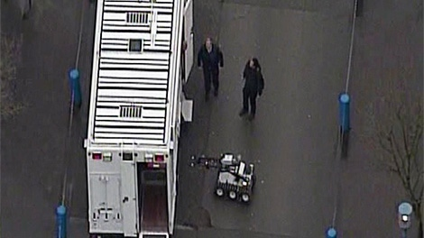 North Vancouver RCMP have shut down part of Lonsdale Quay and the TransLink SeaBus Terminal after a suspicious package was found on Feb. 11, 2010. (CTV / Chopper 9)