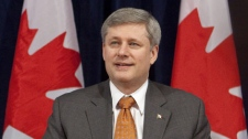 Prime Minister Stephen Harper is seen during a meeting with members of the North American Competitiveness Council and members of the Canadian council of Chief Executives in his Langevin office in Ottawa on Tuesday, Feb. 9, 2010. (THE CANADIAN PRESS/Pawel Dwulit)