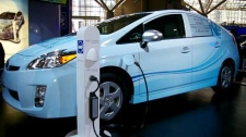 The Prius plug-in was the centrepiece of a low-key Toyota exhibit at the Canadian International Auto Show.