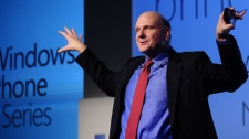 "Microsoft CEO Steve Ballmer gestures during the ""Windows Phone 7"" presentation at the Mobile World congress in Barcelona, Spain, Monday, Feb. 15, 2010. The Mobile World Congress will be held from Feb. 15-18. (AP Photo/Manu Fernandez)"
