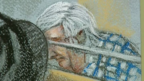 In this courtroom sketch, Earl Jones is seen with his head in his hands in a Montreal courthouse in Montreal, Que., on Monday, Feb. 15, 2010.