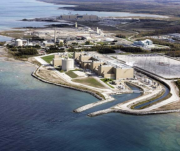 An aerial view of the Bruce Power site with the Bruce B Generating Station in the foreground. (Photo courtesy Bruce Power)