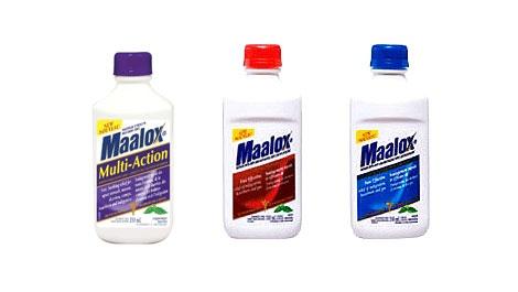 The labels of three Maalox products sold in Canada: Maalox Multi-Action, Maalox Regular Strength, and Maalox Extra-Strength