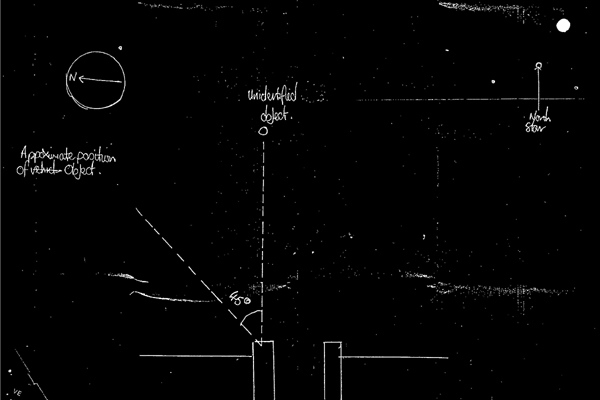 In this image made available by Britain's National Archives Wednesday May 14, 2008, a sketch made by a police officer after a sighting of an unidentified Flying Object in England in 1984 is seen. (AP Photo/National Archives)