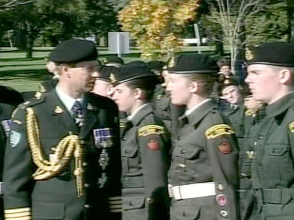 Prince Edward pauses to speak with Canadian soldiers in Charlottetown on Sunday, Oct. 14, 2007.