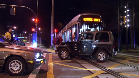 A Bombardier streetcar, on loan from Brussels, Belgium, collided with a Jeep in False Creek on Friday, Feb. 19, 2010. (CTV)