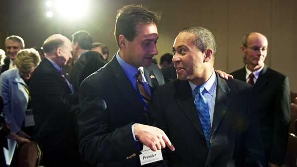 Canada's Prince Edward Island Premier Robert Ghiz, left, talks with Massachusetts Gov. Deval Patrick following the National Governors Association special session with Canadian Premiers in Washington, Saturday, Feb. 20, 2010. (AP / Cliff Owen)