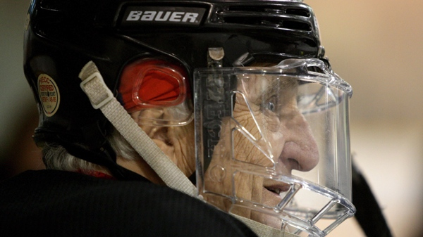 Eighty-two-year-old Don Fleming, of West Vancouver, B.C., looks on from the bench as he plays a hockey game with players, all 80 years old and over, from the Geriatric Hockey League in Burnaby, B.C., on Tuesday, September 8, 2009. (THE CANADIAN PRESS/Darryl Dyck)