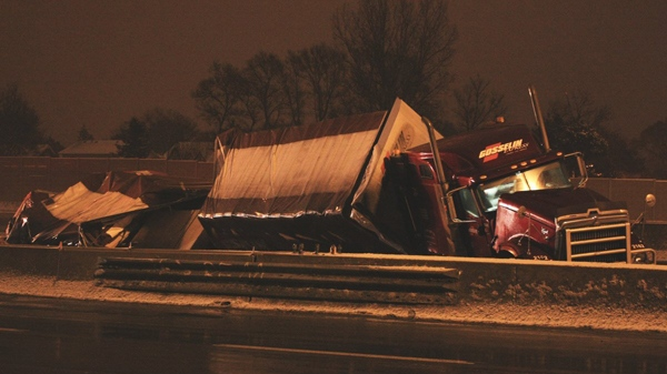 This tractor trailer slammed into the dividing barrier on Hwy. 401 near Yonge Street on Feb. 23, 2010.