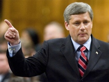Prime Minister Stephen Harper debates the Speech from the Throne on Parliament Hill in Ottawa Wednesday, Oct. 17, 2007. (CP / Fred Chartrand)