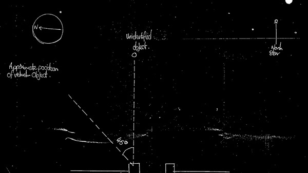 In this image made available by Britain's National Archives Wednesday May 14, 2008, a sketch made by a police officer after a sighting of an unidentified Flying Object in England in 1984 is seen. (AP / National Archives)
