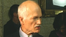 NDP Leader Jack Layton reacts to the Conservatives 2010 budget in Ottawa on Thursday, March 4, 2010.