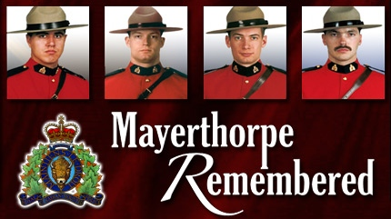 RCMP Constables Leo Johnston, Brock Myrol, Anthony Gordon and Peter Schiemann, gunned down by James Roszko on his farm just outside the town of Mayerthorpe, Alberta on March 3, 2005.