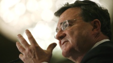 Finance Minister Jim Flaherty speaks to a Chamber of Commerce luncheon in London, Ontario, on Friday, March 5, 2010, the day after presenting the new budget to Parliament. (Dave Chidley / THE CANADIAN PRESS)