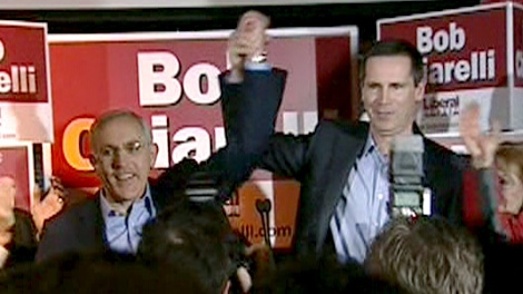 Bob Chiarelli celebrates his byelection win in Ottawa West-Nepean with Premier Dalton McGuinty, Thursday, March 4, 2010.
