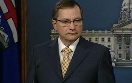 Alberta Premier Ed Stelmach addresses the media on Monday, March 8, 2010.