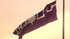 The Five Nations flag flies on the Kahnawake Reserve near Montreal, Que.