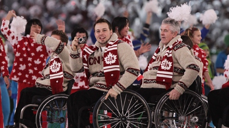 Members of team Canada arrive during the opening ceremonies of the Winter Paralympic Games in Vancouver, Friday, March 12, 2010. (CP/Darryl Dyck)