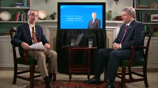Prime Minister Stephen Harper appears in a pre-recorded interview on YouTube, Monday, February 16, 2010.