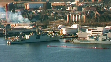 Canadian Navy destroyer HMCS Athabaskan pulls into port in Halifax, N.S. on Wednesday, March 17, 2010, in this image taken from video.