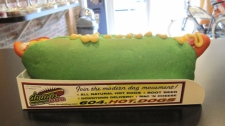 At Dougie Dogs in Vancouver, hot dog buns are going green in honour of St. Patrick's Day. March 17, 2010. (CTV)