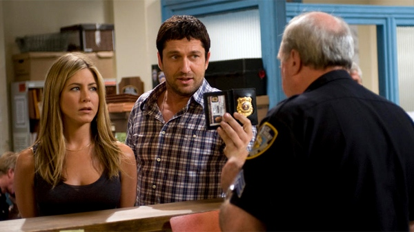 Jennifer Aniston, left, and Gerard Butler in 'The Bounty Hunter.' (Columbia Pictures, Barry Wetcher)