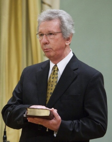 The Honourable Jean-Pierre Blackburn is sworn in as Minister of Veterans Affairs and Minister of State (Agriculture) at Rideau Hall in Ottawa on Tuesday, Jan. 19, 2010. (Pawel Dwulit / THE CANADIAN PRESS)