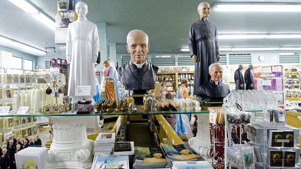 Souvenirs of Brother Andr� are shown in the gift shop at Saint Joseph's Oratory in Montreal, Friday, Feb. 19, 2010. The small, humble Roman Catholic brother who built a monument that still towers over Montreal will become modern-day Canada's first saint. (THE CANADIAN PRESS/Graham Hughes)