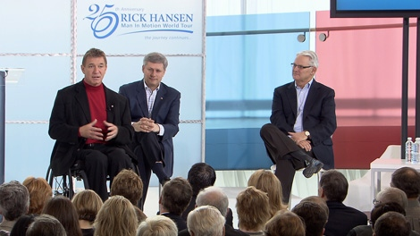 Rick Hansen speaks on the 25th anniversary of his Man in Motion tour. March 21, 2010. (CTV)