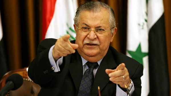 Iraq's President Jalal Talabani talks to reporters in Baghdad, Iraq, in this Aug 17, 2007 file photo. (AP / Hadi Mizban)