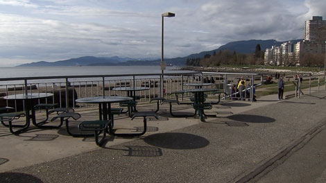 The patio of the existing concession stand at English Bay in Vancouver. March 22, 2010. (CTV)