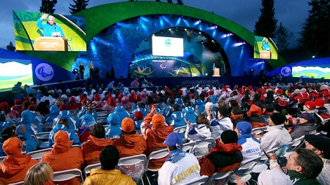 VANOC CEO John Furlong speaks at the Paralympic Closing Ceremony on Sunday, March 21, 2010. (CTV)