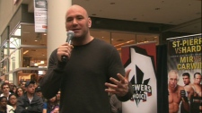 UFC president Dana White speaks to MMA fans at the Eaton Centre on Tuesday, March 23, 2010.