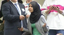 Fatima Al-Dhaher, a student at the University of Western Ontario, asks Ann Coulter a question on Monday, March 22, 2010.