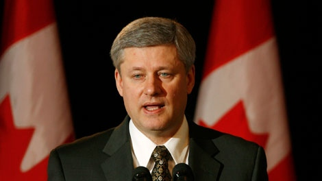 Prime Minister Stephen Harper speaks in London, Ont., on Thursday, March 25, 2010. (Dave Chidley / THE CANADIAN PRESS)