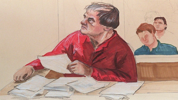 This artist's sketch shows Clifford Olson as he appeared during the second day of his hearing at the Supreme Court in Surrey, B.C. on Aug. 19, 1997. (THE CANADIAN PRESS / Felicity Don)
